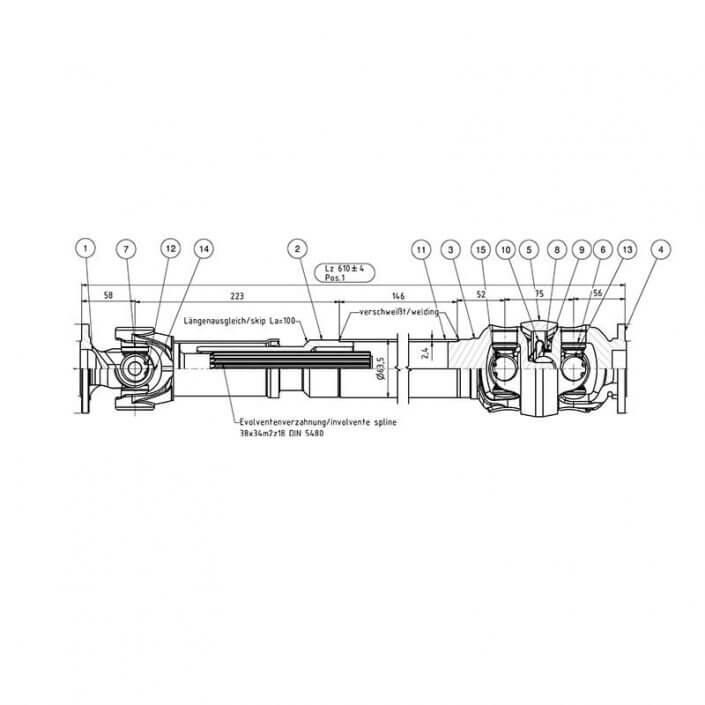 ENGAGE4X4 Verstärkte Doppelgelenkwelle Land Rover Defender - Skizze